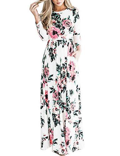 levne Maxi šaty-Dámské Základní Tričko Šaty - Květinový, Plisé Tisk Maxi