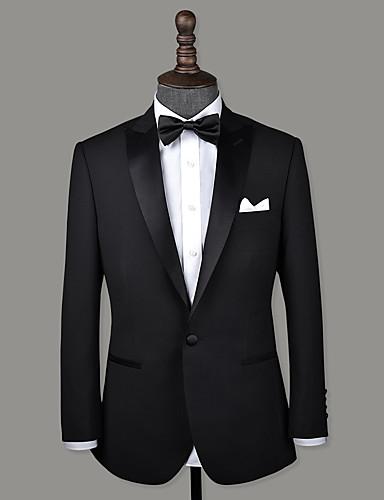 tanie Garnitury męskie na miarę-czarny pikowany wełniany klap na zamówienie smoking