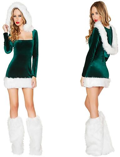 preiswerte Weihnachten Kostüme-FrauClaus Kleid Damen Erwachsene Kostüm-Party Weihnachten Weihnachten Samt Kleid