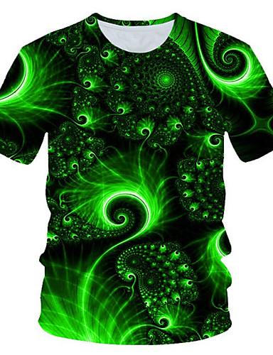 Homens Camiseta Moda de Rua / Exagerado Estampado, Estampa Colorida / 3D / Gráfico Verde