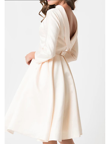 cheap Wedding Dresses-A-Line Jewel Neck Knee Length Charmeuse 3/4 Length Sleeve Vintage Little White Dress / 1950s / Cute Wedding Dresses with Draping 2020