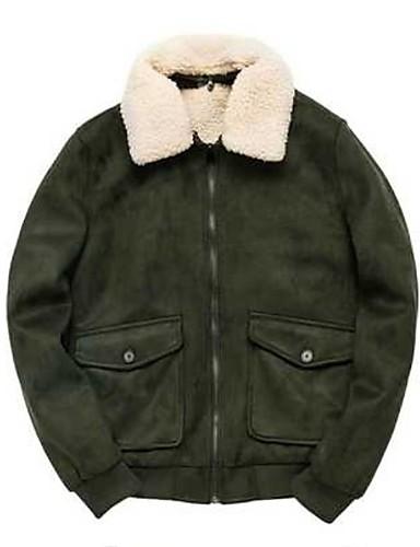 levne Pánská saka a kabáty-Pánské Denní Podzim zima Standardní Bunda, Jednobarevné Přehnutý Dlouhý rukáv Polyester Armádní zelená / Hnědá