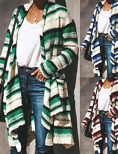 preiswerte Damen Trenchcoats-Damen Alltag Winter Lang Trench Coat, Geometrisch Hemdkragen Langarm Polyester Rosa / Blau / Grün / Lose