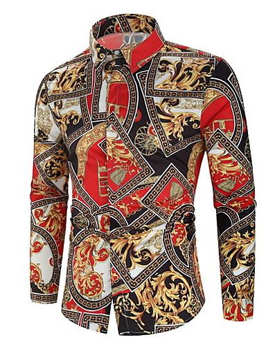 levne Pánské košile-Pánské - Geometrický Košile Oranžová