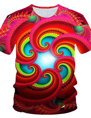 Homens Camiseta Moda de Rua / Exagerado Estampado, Estampa Colorida / 3D / Gráfico Vermelho
