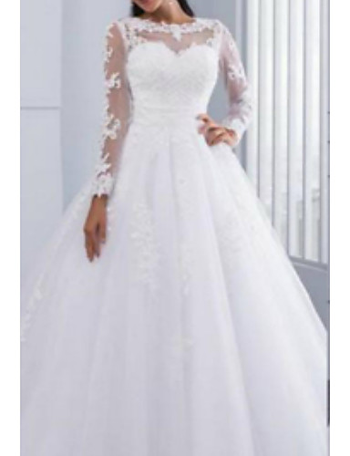 cheap Wedding Dresses-A-Line Jewel Neck Cathedral Train Tulle / Lace Over Charmeuse Long Sleeve Wedding Dresses with Lace / Draping / Appliques 2020
