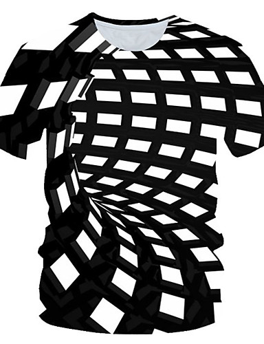 levne Pánská tílka-Pánské - Barevné bloky / 3D / Grafika Šik ven / Přehnaný Tričko, Tisk Černá