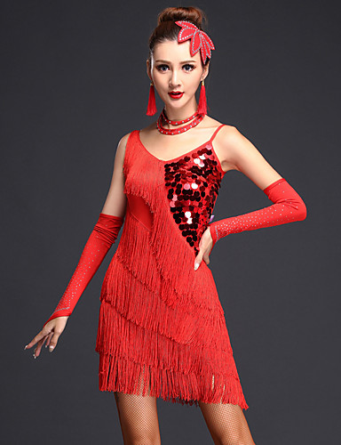 cheap Dancing Costumes-Women's Flapper Girl Latin Dance Flapper Dress Party Costume Tassel Sequins Flapper Costume Sequin Polyster Black Fuchsia Royal Blue Dress