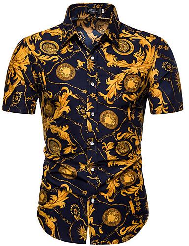 levne Pánské košile-Pánské - Geometrický Základní Košile Žlutá