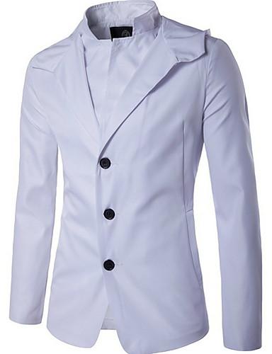 levne Pánská saka a kabáty-Pánské Denní Standardní Bunda, Jednobarevné Kapuce Dlouhý rukáv Polyester Černá / Bílá