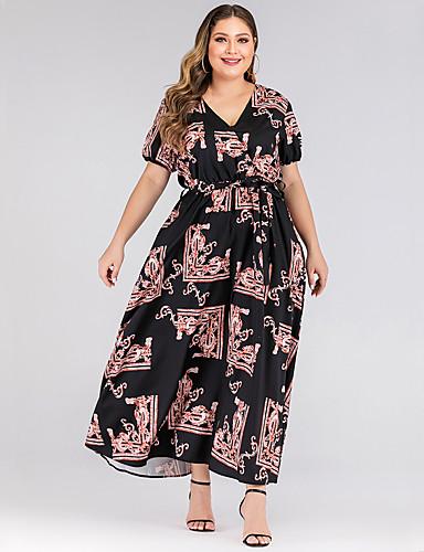 levne Maxi šaty-Dámské Základní Pouzdro Šaty - Etno, Patchwork Maxi