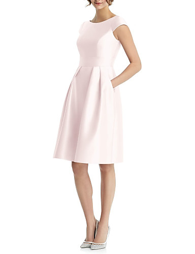 cheap Bridesmaid Dresses-A-Line Jewel Neck Knee Length Satin Bridesmaid Dress with Pleats