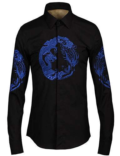 levne Pánské košile-Pánské - Zvíře Košile Černá