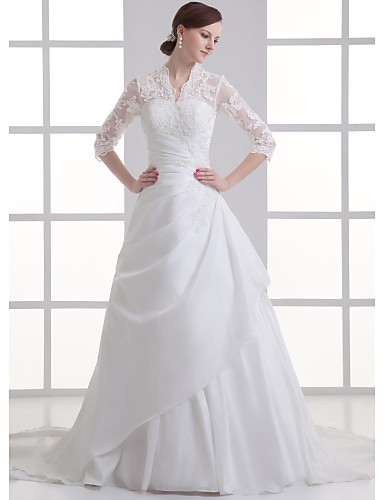 cheap Wedding Dresses-A-Line V Neck Chapel Train Lace / Satin / Taffeta 3/4 Length Sleeve Illusion Sleeve Wedding Dresses with Beading / Appliques / Side-Draped 2020 / Bell Sleeve