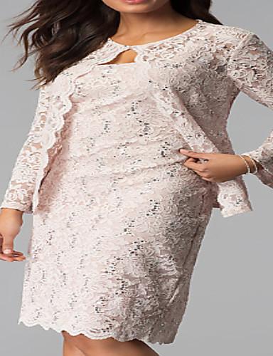 preiswerte Brautmutter Kleider-Eng anliegend / Zweiteiler Schmuck Knie-Länge Spitze Brautmutterkleid mit Horizontal gerüscht durch LAN TING Express