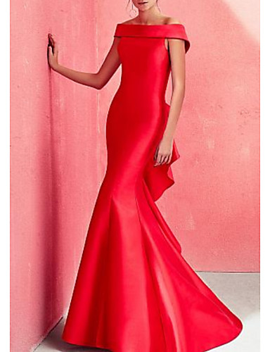 cheap Special Occasion Dresses-Mermaid / Trumpet Beautiful Back Red Engagement Formal Evening Dress Off Shoulder Short Sleeve Floor Length Satin with Ruffles Draping 2020