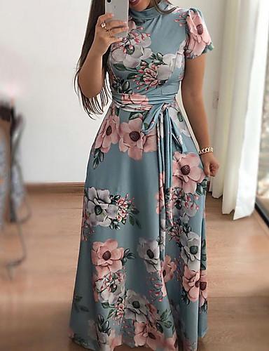levne Maxi šaty-Dámské Swing Šaty - Barevné bloky Maxi