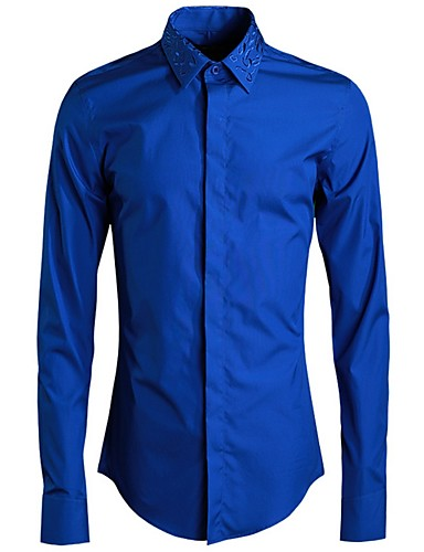levne Pánské košile-Pánské - Jednobarevné Košile Černá
