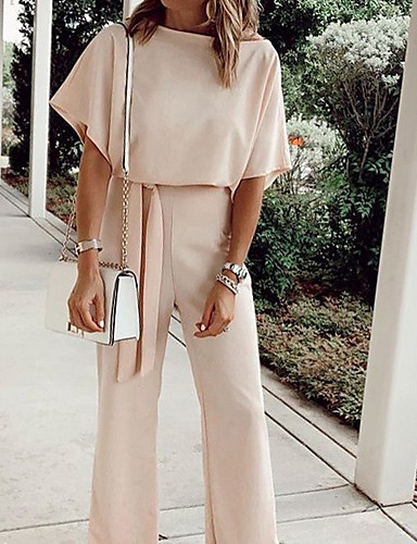 cheap Women's Tops-Women's Black Blushing Pink Yellow Pencil Jumpsuit Onesie, Solid Colored Fashion S M L Spring Summer Fall