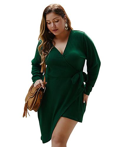 levne Šaty velkých velikostí-Dámské Základní Pouzdro Šaty - Jednobarevné, Patchwork Nad kolena