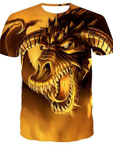 levne Pánská tílka-Pánské - 3D Tričko Zlatá