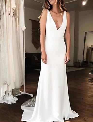 cheap Wedding Dresses-A-Line V Neck Court Train Charmeuse Regular Straps Wedding Dresses with Draping 2020