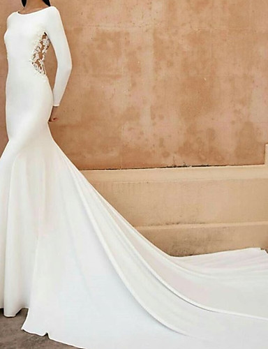 cheap Wedding Dresses-A-Line / Mermaid / Trumpet Jewel Neck Court Train Lace / Stretch Satin Long Sleeve Wedding Dresses with Embroidery 2020