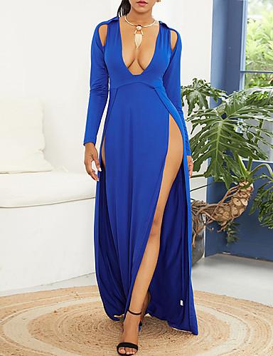 levne Maxi šaty-Dámské Šik ven Elegantní Bodycon Pouzdro Swing Šaty - Jednobarevné, Vystřižený Rozparek Patchwork Maxi