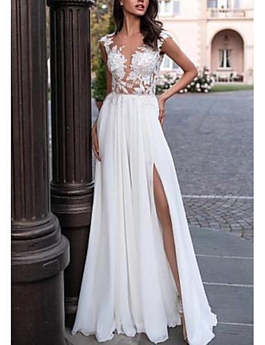 cheap Wedding Dresses-A-Line V Neck Sweep / Brush Train Chiffon / Lace Cap Sleeve Backless / Illusion Sleeve Wedding Dresses with Lace Insert / Split Front 2020