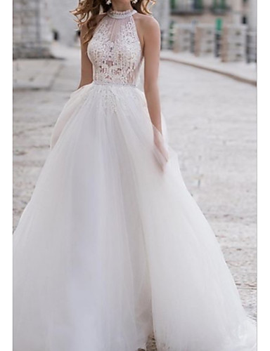cheap Wedding Dresses-A-Line Halter Neck Asymmetrical Lace / Tulle Regular Straps Boho Wedding Dresses with Lace Insert / Embroidery 2020