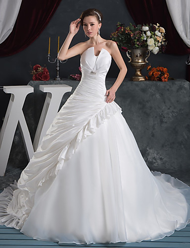 cheap Wedding Dresses-Ball Gown Wedding Dresses Strapless Court Train Organza Taffeta Strapless with Pick Up Skirt Ruched Crystals 2020