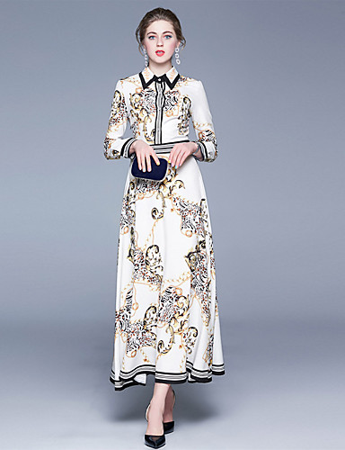 levne Maxi šaty-Dámské Sofistikované Pouzdro Šaty - Květinový, Tisk Maxi Bílá