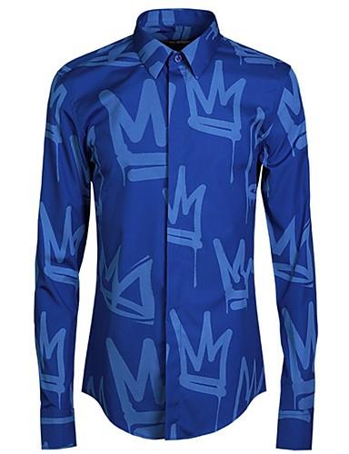 levne Pánské košile-Pánské - Písmeno Košile Světle modrá