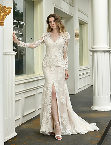 cheap Wedding Dresses-Mermaid / Trumpet V Neck Sweep / Brush Train Lace Long Sleeve Illusion Sleeve Wedding Dresses with Beading / Appliques 2020