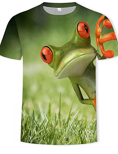 Homens Camiseta Moda de Rua / Punk & Góticas Estampado, Geométrica / Estampa Colorida Verde