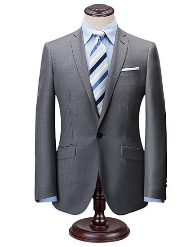 cheap Men's Custom Suits-Classic solid gray tweed wool custom suit