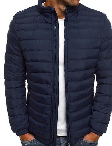 levne Pánské kabáty a parky-Pánské Jednobarevné S vycpávkou, Polyester Černá / Světle modrá / Námořnická modř US32 / UK32 / EU40 / US36 / UK36 / EU44 / US40 / UK40 / EU48