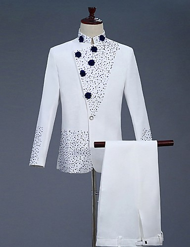levne Pánské blejzry a saka-Pánské Obleky, Barevné bloky Stojáček Polyester Bílá