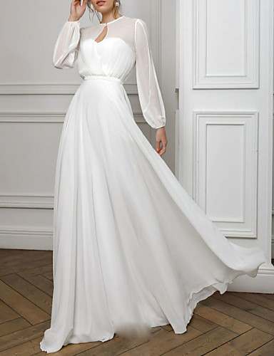 cheap Special Occasion Dresses-A-Line Empire White Holiday Formal Evening Dress Illusion Neck Long Sleeve Floor Length Chiffon with Pleats 2020