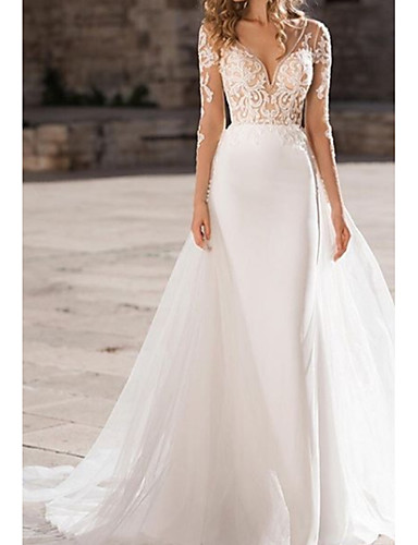 cheap Wedding Dresses-A-Line V Neck Court Train Organza / Tulle / Stretch Satin Long Sleeve Illusion Sleeve Wedding Dresses with Embroidery 2020