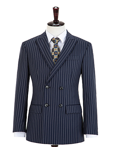 cheap Men's Custom Suits-Midnight Blue Stripe Double Breasted Wool Custom Suit