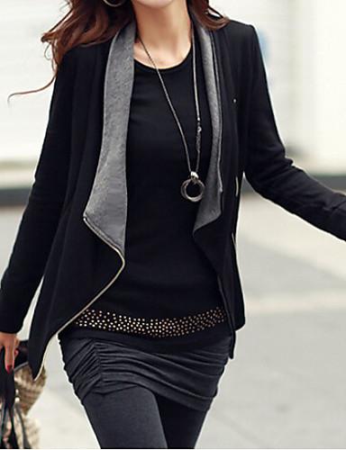 levne Dámské blejzry a bundy-Dámské Denní Standardní Bunda, Jednobarevné Košilový límec Dlouhý rukáv Polyester Černá / Šedá