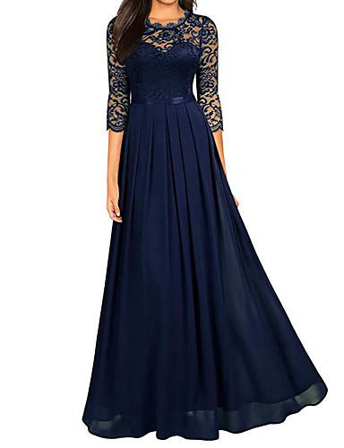baratos Vestidos Longos-Mulheres balanço Vestido - Renda, Sólido Longo