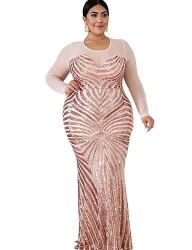 levne Maxi šaty-Dámské Elegantní Pouzdro Šaty - Jednobarevné Maxi