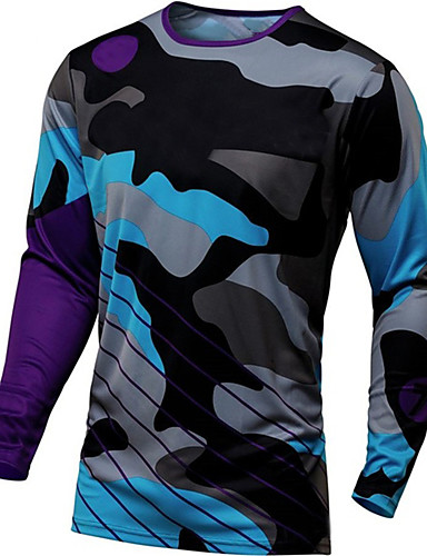 cheap Cycling Jerseys-21Grams Men's Long Sleeve Cycling Jersey Downhill Jersey Dirt Bike Jersey Winter Spandex Polyester Navy Pink Orange Camo / Camouflage Bike Jersey Top Mountain Bike MTB Road Bike Cycling Thermal