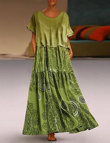 levne Maxi šaty-Dámské Elegantní Shift Šaty - Geometrický Maxi