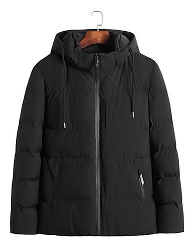 levne Pánské kabáty a parky-Pánské Jednobarevné S vycpávkou, Polyester Černá / Armádní zelená US34 / UK34 / EU42 / US36 / UK36 / EU44 / US38 / UK38 / EU46
