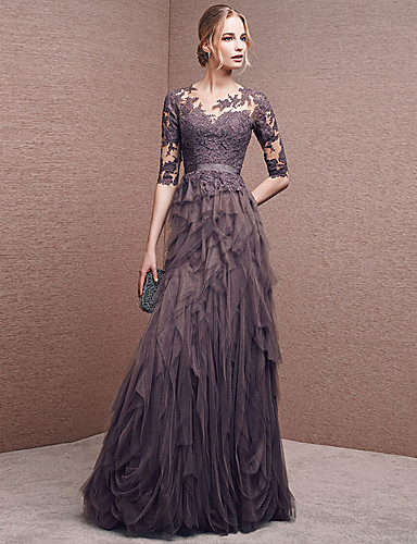 cheap Special Occasion Dresses-A-Line Empire Wedding Guest Formal Evening Dress Illusion Neck Half Sleeve Floor Length Lace Tulle with Appliques 2020