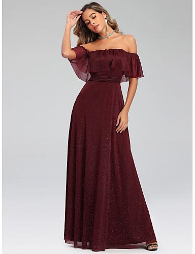 preiswerte Abendkleider-A-Linie Schulterfrei Boden-Länge Polyester / Elasthan Abiball Kleid mit durch LAN TING Express