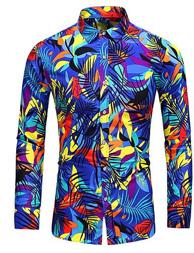 levne Pánské košile-Pánské - Geometrický Košile Bílá